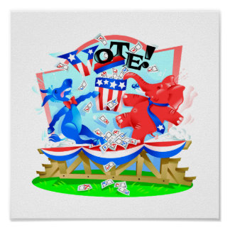 Elephant and Donkey VOTE Illustration Poster