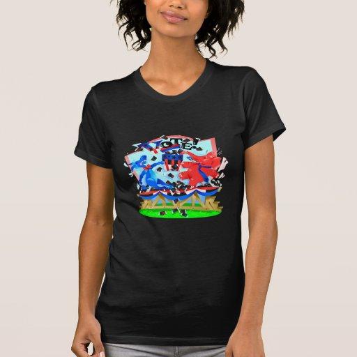 Elephant and Donkey VOTE Illustration T-shirts