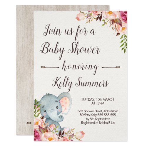 Elephant and Floral Baby Shower Invitation
