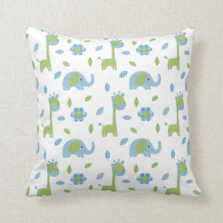 Elephant and Giraffe Blue-Green Throw Pillow