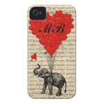 Elephant and heart balloon with monogram iPhone 4 cases