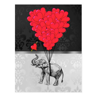 Elephant and heart balloons postcard