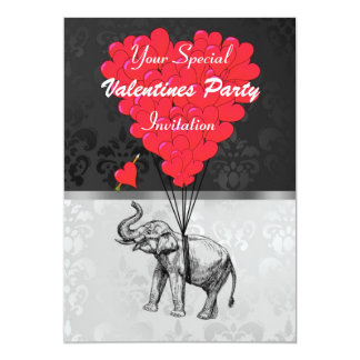 Elephant and heart on damask valentines party card