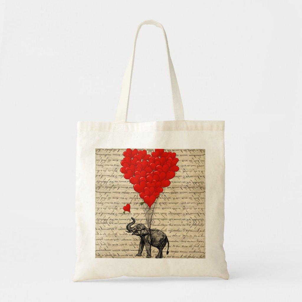 Elephant and heart shaped balloons Bag