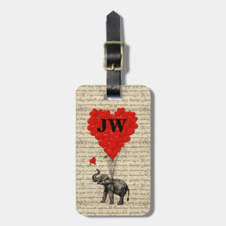 Elephant and heart shaped balloons bag tag
