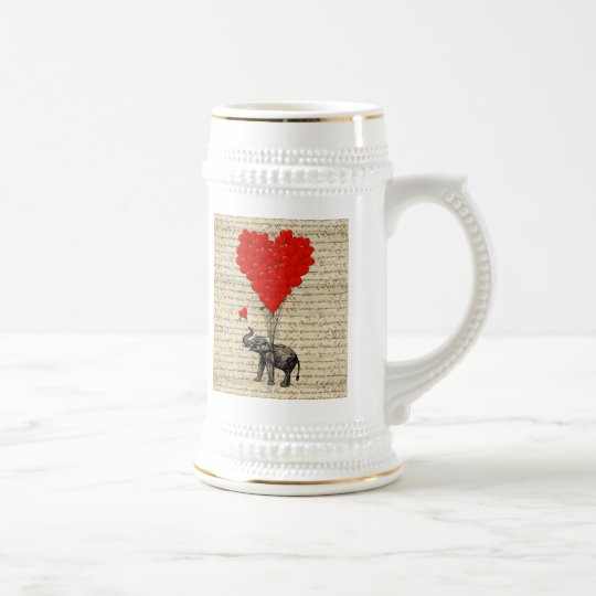 Elephant and heart shaped balloons beer stein