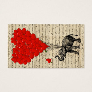 Elephant and heart shaped balloons business card