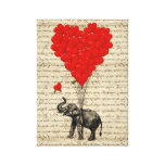 Elephant and heart shaped balloons canvas print