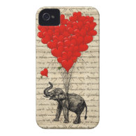 Elephant and heart shaped balloons iPhone 4 Case-Mate case