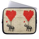 Elephant and heart shaped balloons computer sleeve