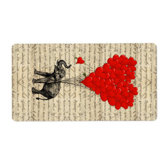 Elephant and heart shaped balloons label