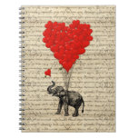 Elephant and heart shaped balloons spiral note books