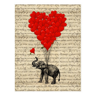 Elephant and heart shaped balloons postcard