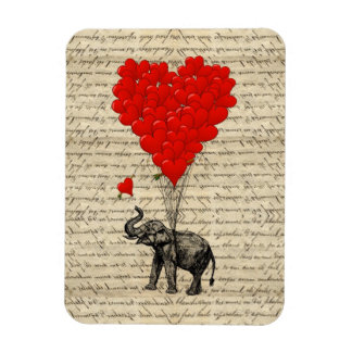 Elephant and heart shaped balloons magnet