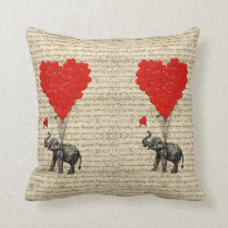 Elephant and heart shaped balloons throw pillow