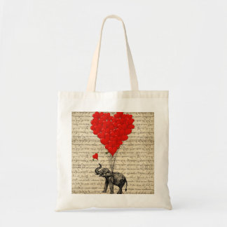 Elephant and heart shaped balloons tote bag