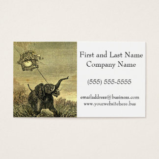 Elephant and Hot Air Balloon Illustration Business Card