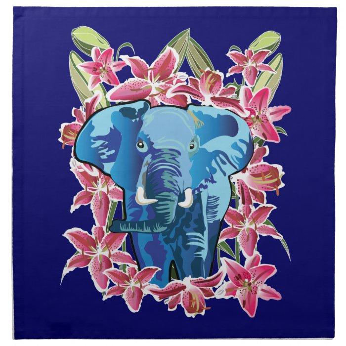 Elephant and lily napkin