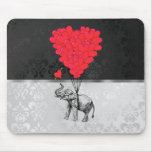 Elephant and love heart mouse pad