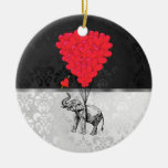 Elephant and love heart Double-Sided ceramic round christmas ornament