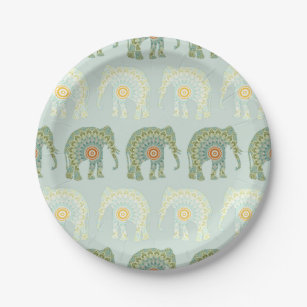 Elephant and Mandala Pattern in Light Green Paper Plate  sc 1 st  Zazzle : light green paper plates - pezcame.com