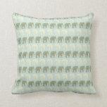 Elephant and Mandala Pattern in Light Green Pillow