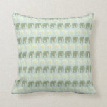 Elephant and Mandala Pattern in Light Green Throw Pillow