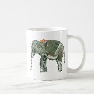 Elephant and monkey classic white coffee mug