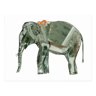 Elephant and monkey postcard