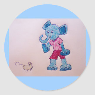 elephant and mouse classic round sticker