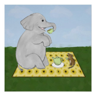 Elephant and Mouse Tea Party Poster Print
