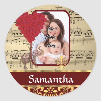 Elephant and music sheet classic round sticker