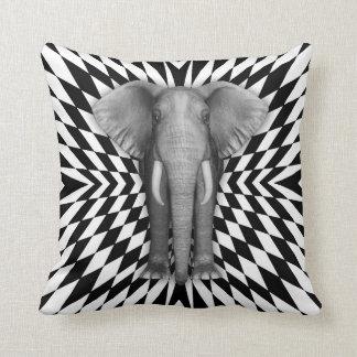 Elephant And Optical Pattern Design, Zany Pattern Pillow