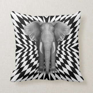 Elephant And Optical Pattern Design, Zany Pattern Throw Pillow