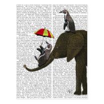 Elephant and Penguin Postcard