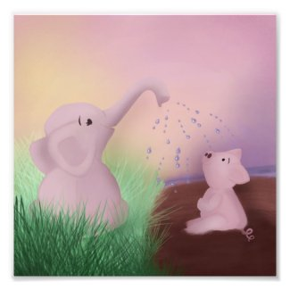 Elephant and Pig Play Photo Print