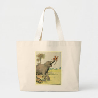 Elephant and Poacher in the Jungle Jumbo Tote Bag