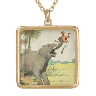 Elephant and Poacher in the Jungle Gold Plated Necklace