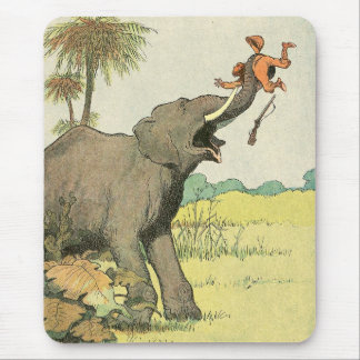 Elephant and Poacher in the Jungle Mousepad