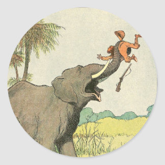Elephant and Poacher in the Jungle Round Sticker