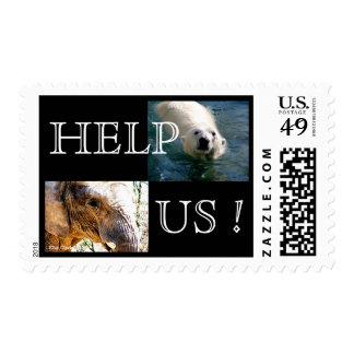 Elephant and Polar Bear Postage Stamp
