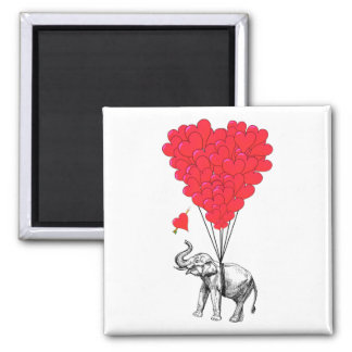 Elephant and red heart balloons 2 inch square magnet