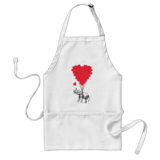 Elephant and red heart balloons aprons