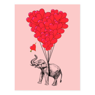 Elephant and red heart balloons postcard