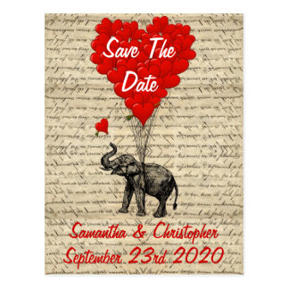 Elephant and red heart save the date postcard