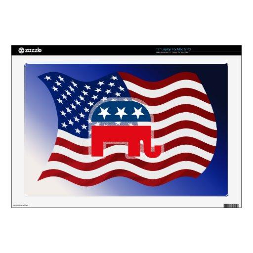 Elephant and USA Flag.tif Laptop Skin