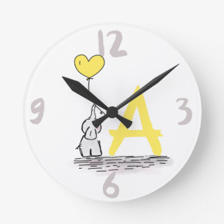 Elephant And Yellow Heart Balloon Monogram Nursery Round Clock