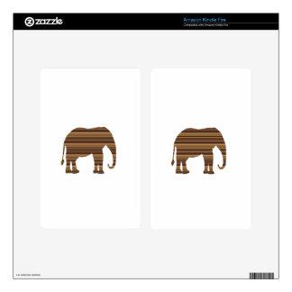 ELEPHANT animal wild pet Gold Stripe Brown NVN286 Skin For Kindle Fire