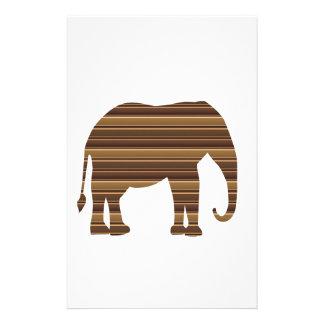 ELEPHANT animal wild pet Gold Stripe Brown NVN286 Custom Stationery