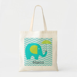 Elephant Aqua Chevron Green Umbrella Custom Bag